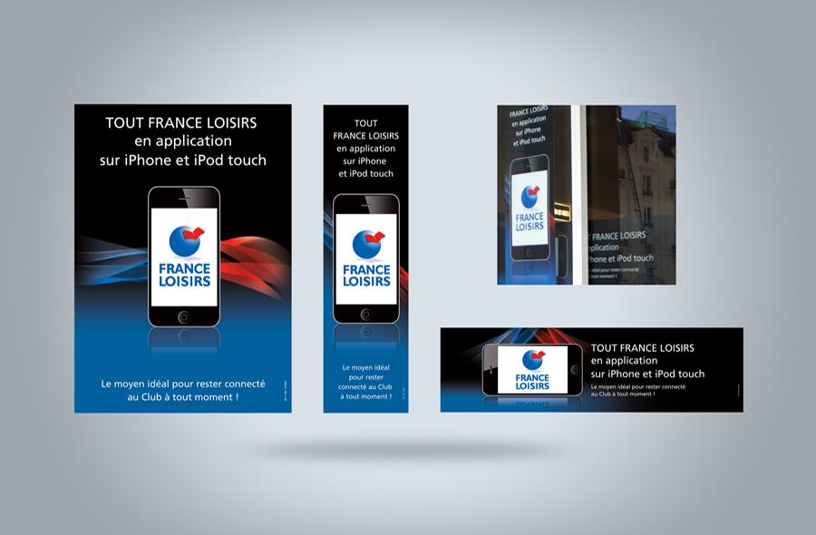 <strong>France Loisirs · </strong><span>Affiche, vitrophanie, kakémono : création et réalisation graphique / © Client : France Loisirs</span>