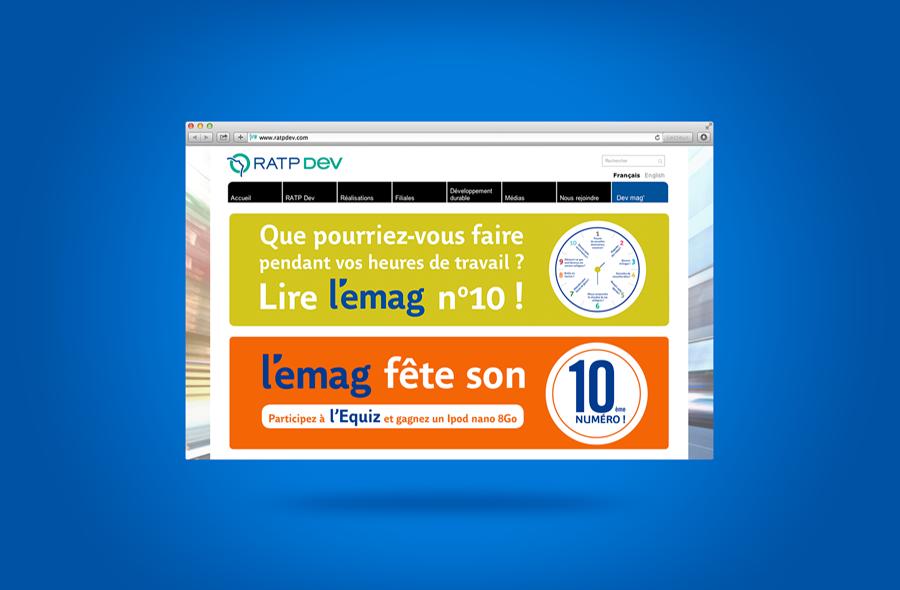 <strong>RATP DEV · </strong><span>Bannière web : création et réalisation à partir de la charte graphique existante / © Client : Ratp Dev</span>