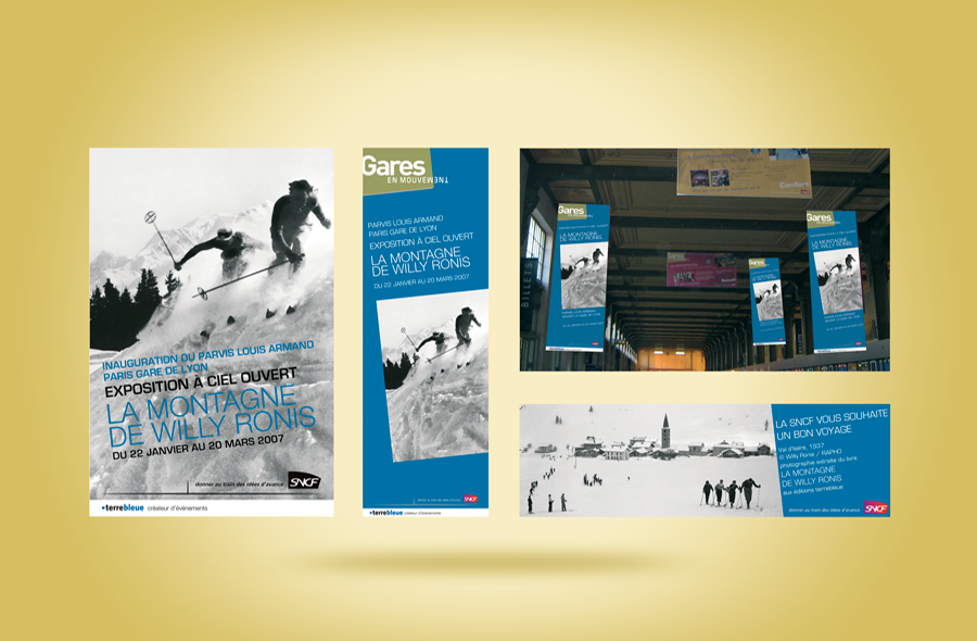 <strong>SNCF – Paris Gare de Lyon · </strong><span>Kakémono, affiche : création et réalisation graphique / © Client : Edition Terre Bleue</span>