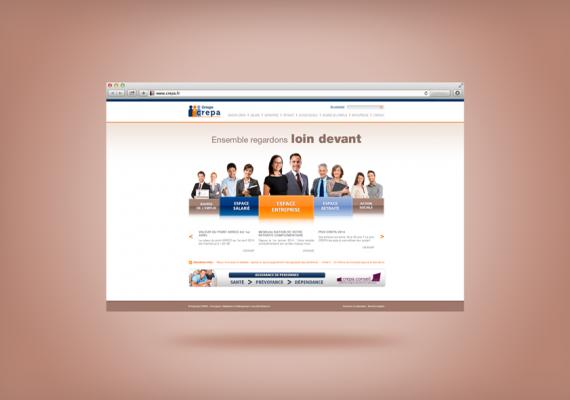 <strong>Groupe Crepa · </strong><span>Site Vitrine : création et réalisation de l&rsquo;identité graphique / © Client : Net Streams</span>