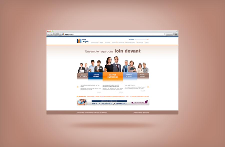 <strong>Groupe Crepa · </strong><span>Site Vitrine : création et réalisation de l'identité graphique / © Client : Net Streams</span>