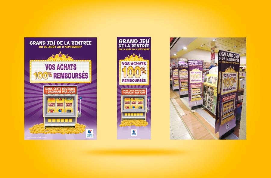 <strong>France Loisirs · </strong><span>Kakémono, chevalet de trottoir, signalétique boutique : création et réalisation graphique / © Client : France Loisirs</span>