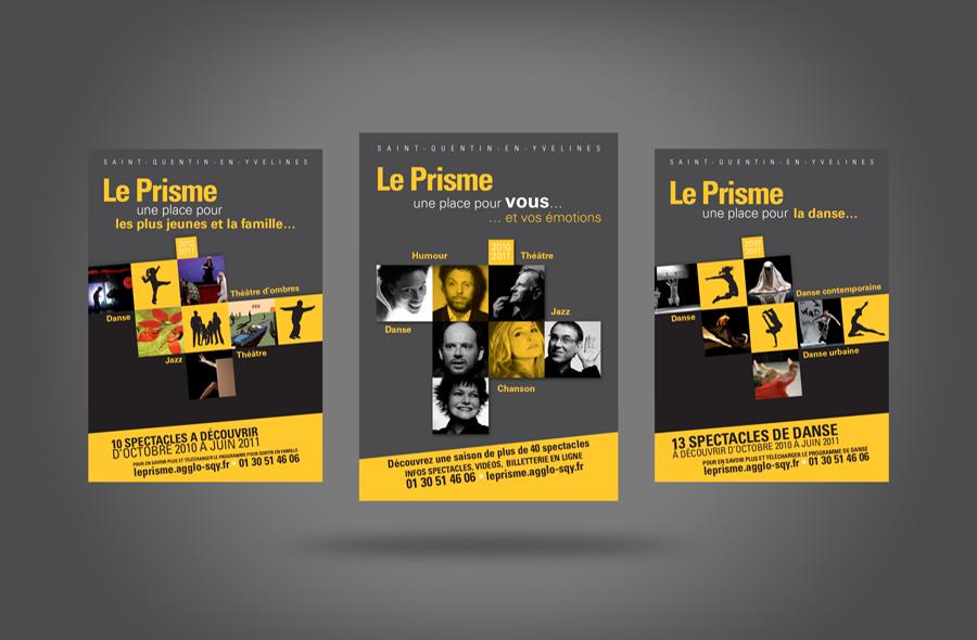 <strong>Le Prisme SQY (78) · </strong><span>Flyers : maquette et réalisation à partir de la charte graphique existante / © Agence : WeDo Communication</span>