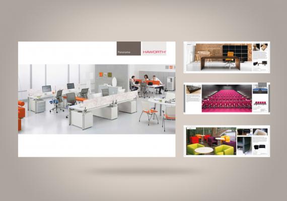 <strong>Haworth · </strong><span>Catalogues produits :  maquette et réalisation à partir de la charte graphique existante / © Agence : WeDo Communication</span>